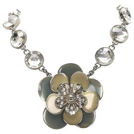 Miu Miu-Miu Miu Silver Flower Pendant Necklace-Silvery