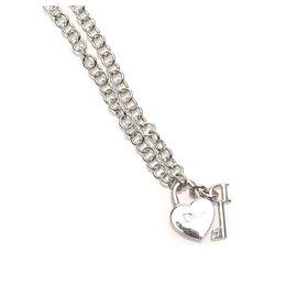 Dior-Dior Silver Heart Key Pendant Necklace-Silvery