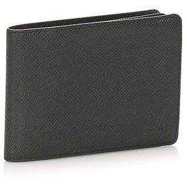 Louis Vuitton-Louis Vuitton Black Bi-fold Taiga Small Wallet-Black