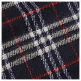 Burberry-Burberry Blue Plaid Wool Scarf-Blue,Multiple colors,Dark blue
