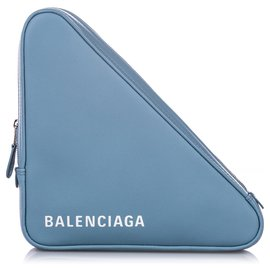 Balenciaga-Balenciaga Blue M Triangle Leather Pochette-White,Blue