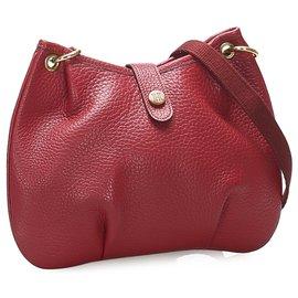 Hermès-Hermes Red Rodeo Leather Shoulder Bag-Red