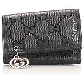 Gucci-Gucci Black Guccissima Key Holder-Black