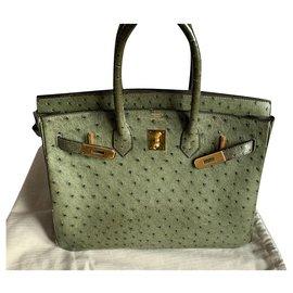 Hermès-Birkin Autruche-Vert olive