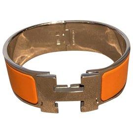 Hermès-CLIC CLAC H BRACELET-Silvery,Orange