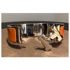 Hermès-Bracelet Clic Clac H-Argenté,Orange