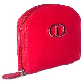 Christian Dior-CHRISTIAN DIOR leather wallet-Red