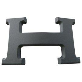 Hermès-Hermès belt buckle 5382 in matt PVD steel 32MM-Black