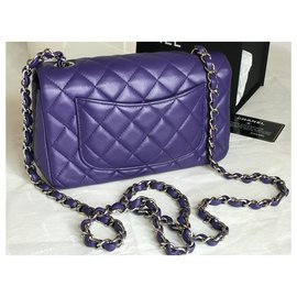 Chanel-Timeless Classic Flap Bag in Lambskin with Silver Hardware-Purple