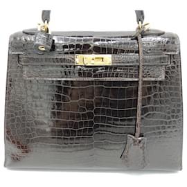 Hermès-HERMES BAG KELLY 25 POROSUS-Dark brown