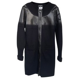 Chanel-Veste en laine à logo CC-Noir