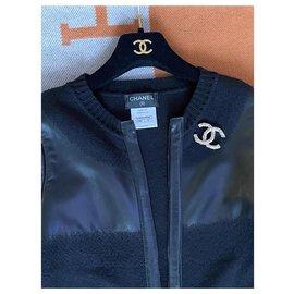 Chanel-CC logo leather wool jacket-Black