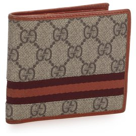 Gucci-Gucci Brown GG Supreme Web Wallet-Brown,Multiple colors,Beige