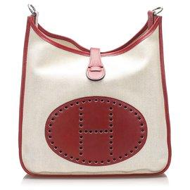 Hermès-Hermes White Toile Evelyne GM-White,Red,Cream