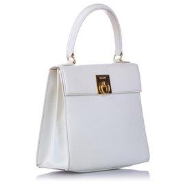 Céline-Celine White Leather Satchel-White