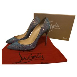 Christian Louboutin-Christian Louboutin Pigalle Follies 100 Glitter Dragonfly-Blue