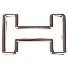 Hermès-Hermès Tonight belt buckle in palladium silver metal (37MM)-Silvery