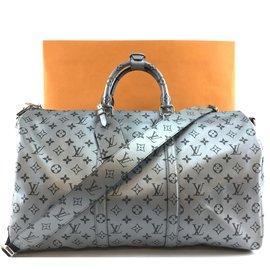 Louis Vuitton-Louis Vuitton Keepall 50 Bandoulière Toile Monogram Argent-Argenté
