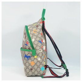 Gucci-GUCCI Children's GG Ranch( Ranch) Backpack kids ruck sack Daypack 271327 beige/ ebony-Beige,Ebony