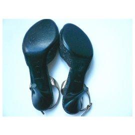 Louis Vuitton-LOUIS VUITTON Sandals DENIM blue gray monograms T38IT-Black,Blue
