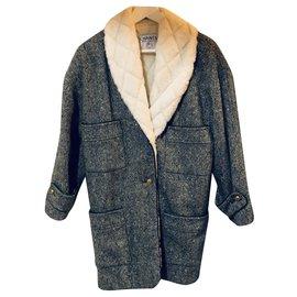 Chanel-Coats, Outerwear-Green,Cream