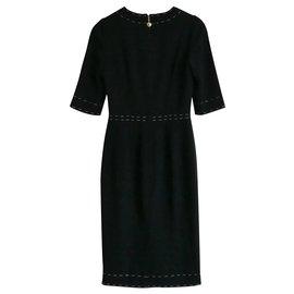 Dolce & Gabbana-Stitch Trim Dress-Black