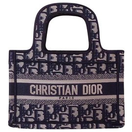 Dior-DIOR Book Tote Mini Brode Oblique bag-Blue