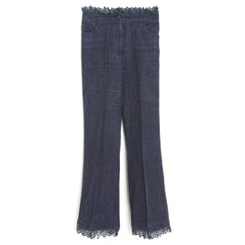 Chanel-LINEN DENIM AND LACE FR38-Blue