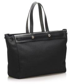 Hermès-Hermes Black Herbag Cabas MM-Black