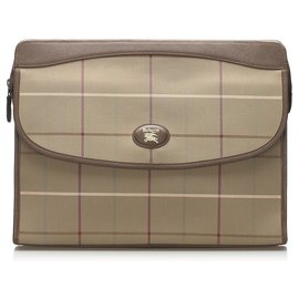 Burberry-Burberry Brown Canvas Clutch Bag-Brown,Beige