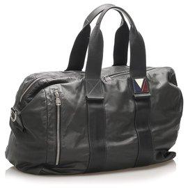 Louis Vuitton-Louis Vuitton Sac de voyage en cuir gris V-Line Start-Autre,Gris