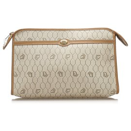 Dior-Dior Brown Honeycomb Clutch Bag-Brown,Beige