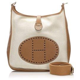 Hermès-Hermes White Toile Evelyne GM-White,Golden,Cream