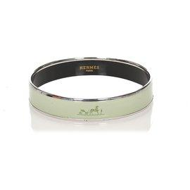 Hermès-Bracelet argenté Hermes argenté-Argenté,Vert