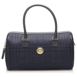 Burberry-Burberry Blue PlaidCanvasBoston Bag-Blue,Navy blue