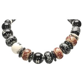 Chanel-Chanel Black CC Beads Necklace-Black,Multiple colors