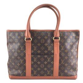 Louis Vuitton-Toile Monogram Louis Vuitton Sac Weekend-Marron