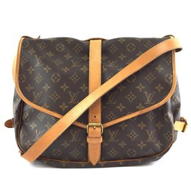 Louis Vuitton-Louis Vuitton Saumur 35 Toile monogramme-Marron