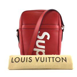 Louis Vuitton-Louis Vuitton X Supreme Danube PM Cuir Epi Rouge-Rouge