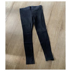 Balenciaga-Balenciaga black leather skinny pants.-Black