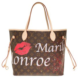 "Louis Vuitton-Splendide Sac Louis Vuitton Neverfull MM en toile monogram customisé ""In Love with Marilyn"" par l'artiste PatBo-Marron"
