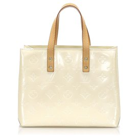 Louis Vuitton-Louis Vuitton White Vernis Reade PM-Blanc,Écru