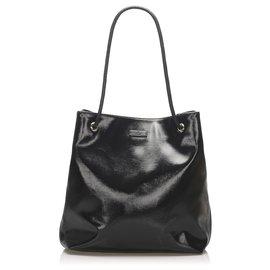 Gucci-Gucci Black Patent Leather Gifford Tote Bag-Black