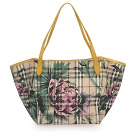 Burberry-Burberry Brown House Check Floral Travel Bag-Brown,Pink,Beige