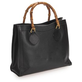 Gucci-Gucci Black Bamboo Leather Tote Bag-Black