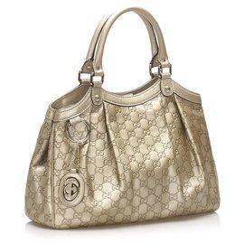 Gucci-Gucci Gold Guccissima Sukey Leather Tote Bag-Golden