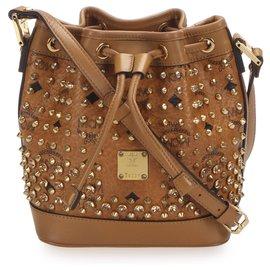 MCM-MCM Brown Visetos Studded Leather Bucket Bag-Brown