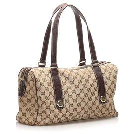 Gucci-Gucci Brown GG Canvas Charmy Handbag-Brown,Beige,Dark brown