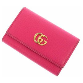 Gucci-Gucci Pink GG Marmont Leather Key Holder-Pink