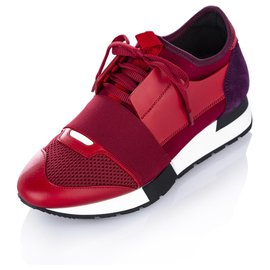 Balenciaga-Balenciaga Red Race Runner Monochrome Nylon Sneaker-Red,Multiple colors